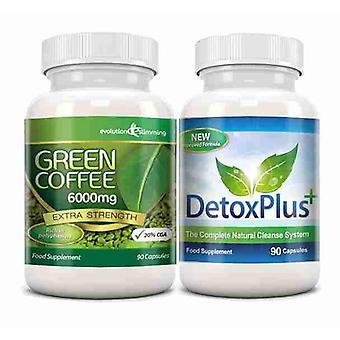 Grøn kaffebønne uddrag 6000 mg Detox Combo Pack - 1 måned levering - fedtforbrænding og kolon rensning - Evolution slankende
