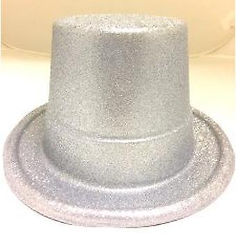 Glitter Top Hat - Argent