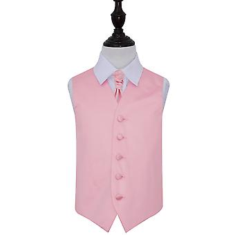 Baby Pink Plain Satin Wedding Vest & Cravat Set voor Jongens