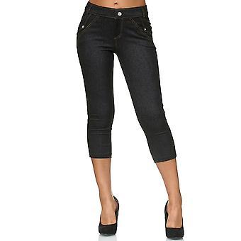 Ladies Capri Pants Skinny Jeggings Hipsters Jeans Treggings Rhinestones Push Up