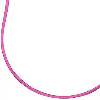 Zijden lint silk ketting CHARMING roze hanger