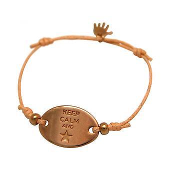 Женщины - браслет - гравировка - СОХРАНИТЬ СПОКОЙСТВИЕ - розовое золото покрытием - яркий Коралл - Роза