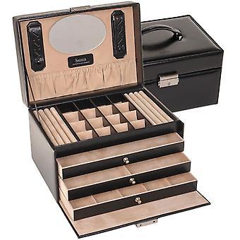 Sacher mål smycken smyckeskrin av NEW CLASSIC svart låsbar med lock