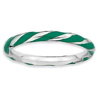 925 Sterling Silver Polished Rhodium plated Twisted Green Enameled 2.4 x 2.0mm Stackable Ring Jewelry Gifts for Women -