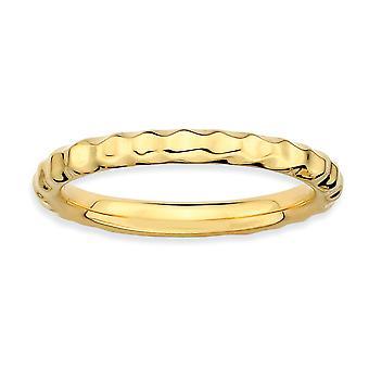 925 sterling sølv polert mønstret stables uttrykk 14k gullbelagt hamret ring smykker gaver til kvinner - Rin