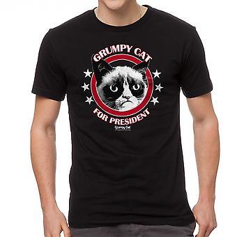 Grumpy Cat Grumpy For President Men's Black Funny T-shirt
