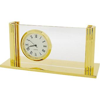 Gift Time Products Desk Card Holder Clock - Gold
