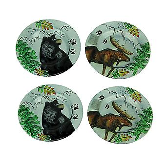 Set of 4 Lodge Black Bear and Moose Round Art Glass Salad Plates