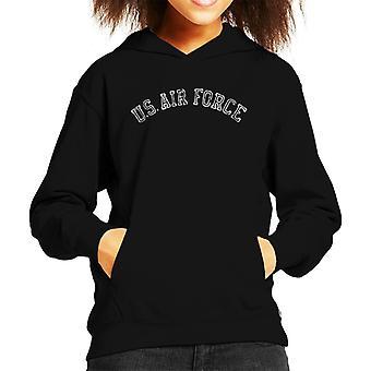 US Airforce Training White Text Distressed Kid's Hooded Sweatshirt