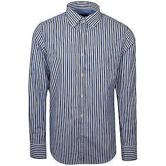 Paul & Shark Shark Fit Blue Striped Long Sleeve Shirt