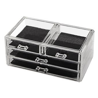 TRIXES Clear Acrylic Cosmetic Jewellery Box Nail Art Organiser