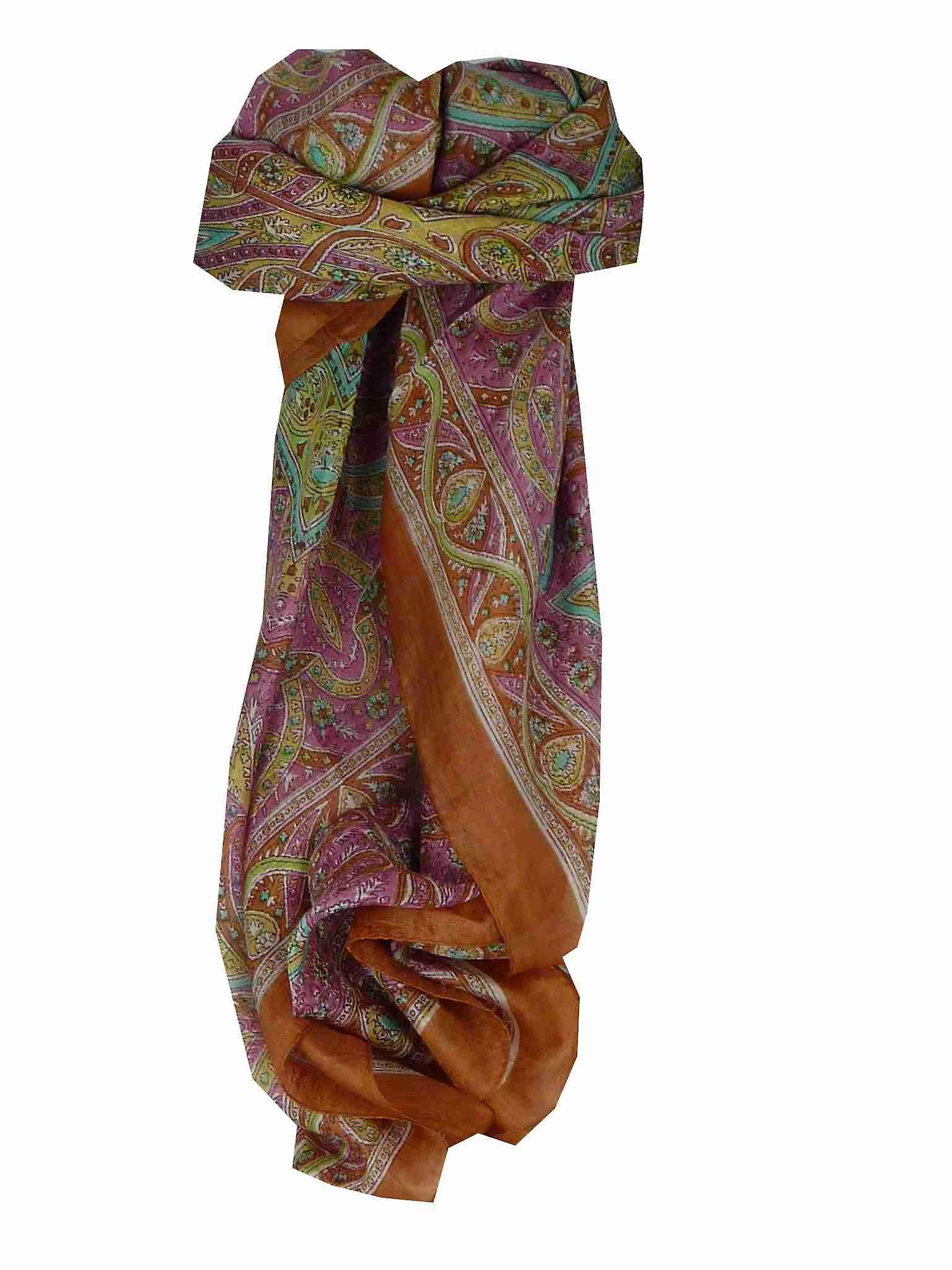 Mulberry Silk Traditional Square Scarf Yamuna Copper by Pashmina & Silk
