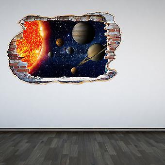 اللون كامل النظام الشمسي حطموا الجدار 3D تأثير الجدار ملصقا