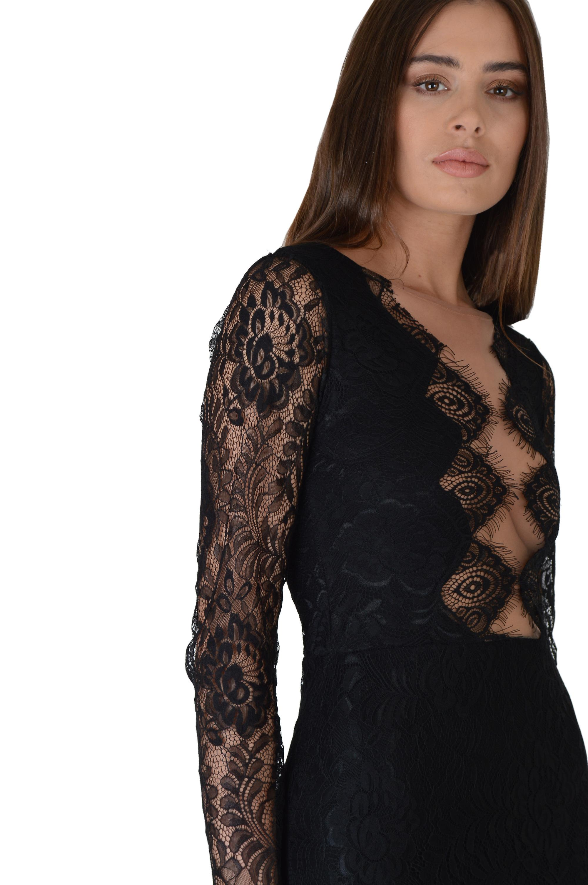 LMS Black Plunge Neck LBD With Lace Long Sleeves
