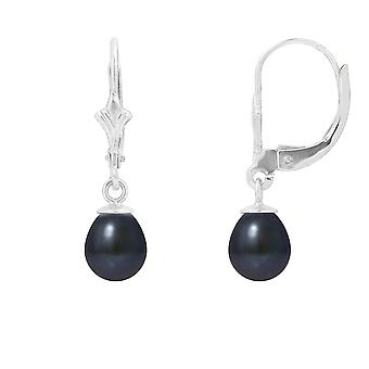 Earrings sleepers cultured black pearls and Silver 925