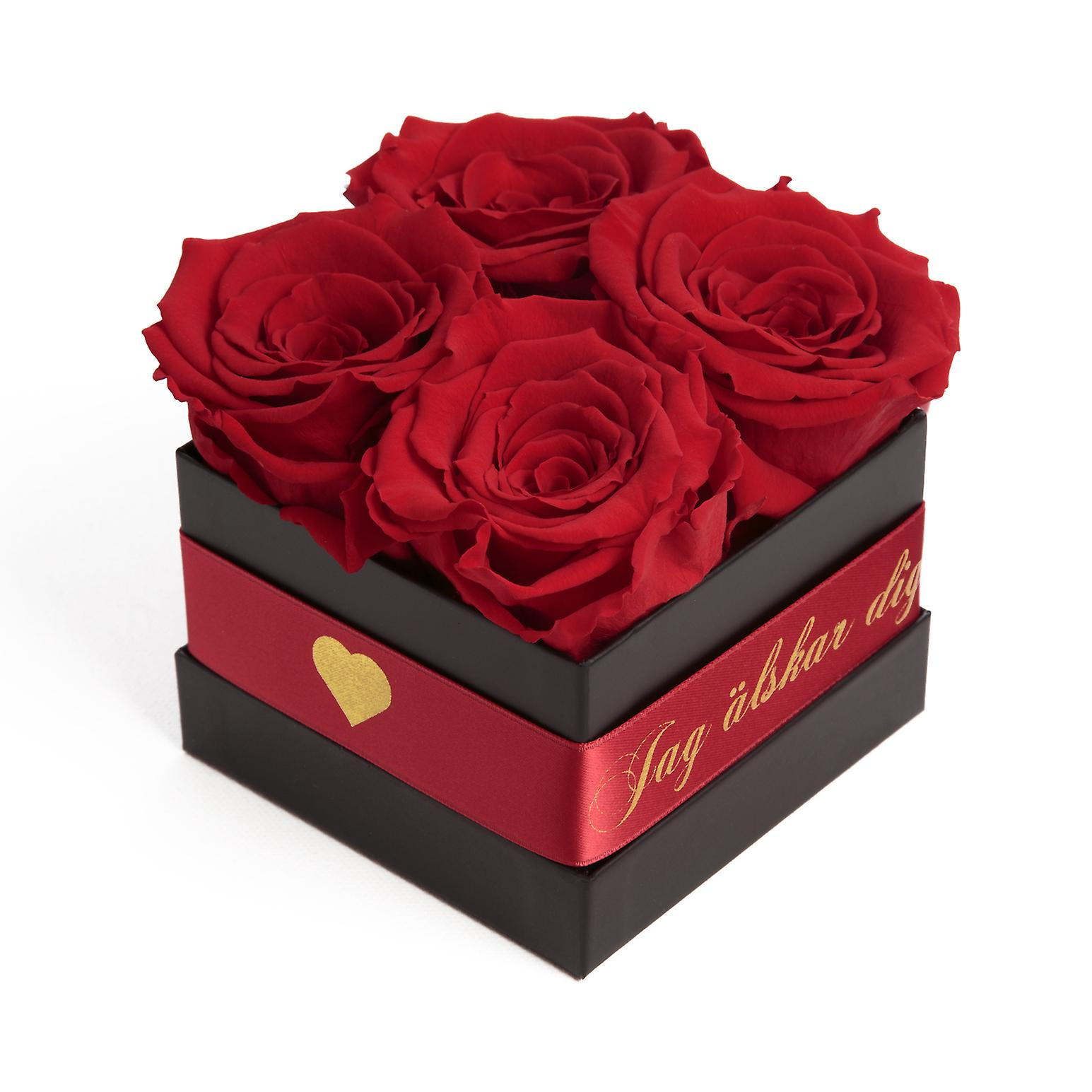 JAG älskar dig Flowerbox with 4 preserved roses red and satin band stable three years