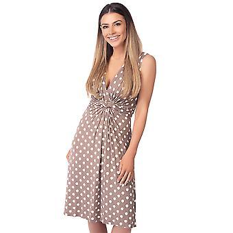 KRISP Womens Polka Dot Print Twist Knot Front V Neck Mini Swing Dress Party Summer