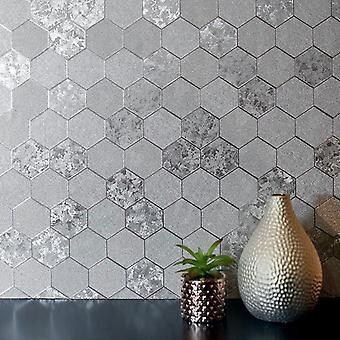 Plaster miodu sympatii tapetę geometryczne luksusowych folia teksturowanej winylu srebrny Arthouse