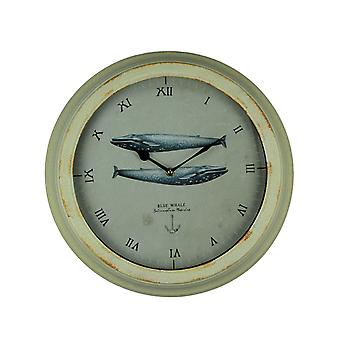 Off-White Distressed Metal Frame Blue Whale Wall Clock
