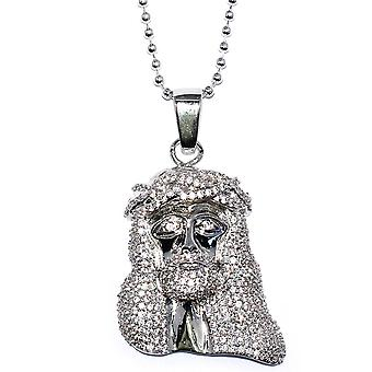 Silver Plated 1.5 inch CZ Mini Jesus Piece with 32 inch Franco Chain