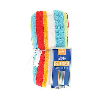 Country Club Stripe Beach Towel, Orange and Green