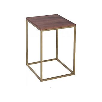 Gillmore Walnut And Gold Metal Contemporary Square Side Table