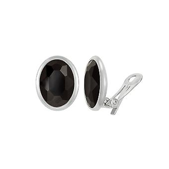 Eternal Collection Precious Jet Black Crystal Oval Silver Tone Stud Clip On Earrings