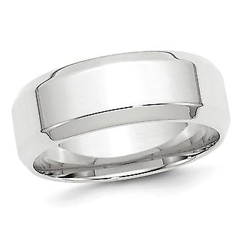 Mens 10K White Gold 8mm Comfort Fit Wedding Band with Bevel Edge