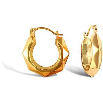 Jewelco London Ladies 9ct Yellow Gold Faceted Donut Creole Earrings