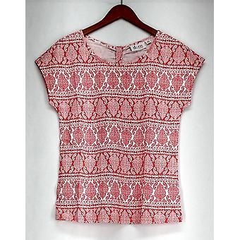 Denim & Co. Top Printed Extended Shoulder Back Bow Detail Coral Pink A263629