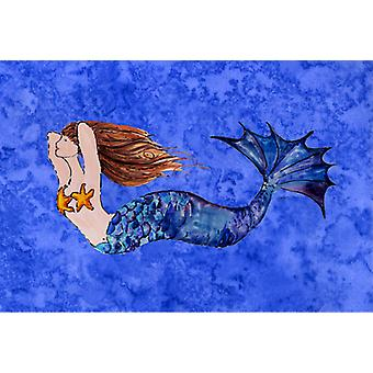 Carolines Treasures  8725PLMT Brunette Mermaid on Blue Fabric Placemat