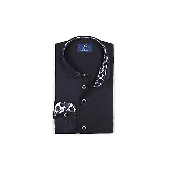 R2 Long Sleeved Wide Spread Collar Shirt Navy