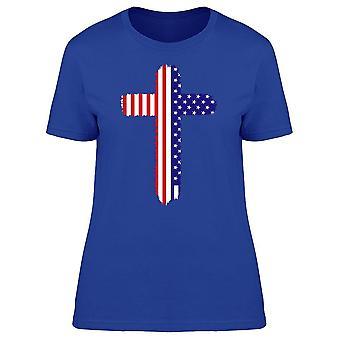 Amerikanska flaggan i Cross tee kvinnor ' s-bild av Shutterstock