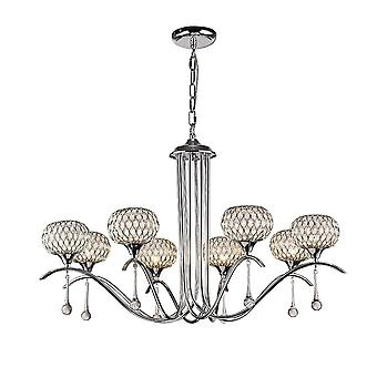 Diyas Chelsie hanger 8 licht gepolijst chroom/helder glas