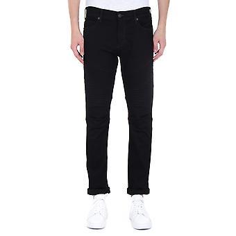 True Religion Classic Rocco Moto Relaxed Skinny Black Denim Jeans