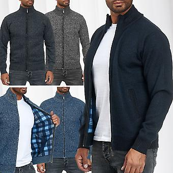 Men's Knitted Vest Jacket Pullover Zip Up Cardigan Jumper fine stitch Lined