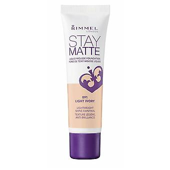 Rimmel London Stay Matte Liquid Mousse Foundation Shine Control 30ml Light Ivory #091