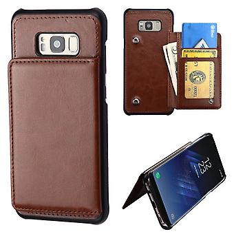 MYBAT Brown Flip Wallet Executive Protector Cover (PC Case w/ Snap Fasteners) for Galaxy S8 Plus