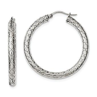 Stainless Steel Textured and Polished 30mm Hollow Hoop Boucles d'oreilles Bijoux Bijoux pour les femmes