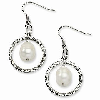 Stainless Steel Textured Polished Shepherd hook Circle With Freshwater Cultured Pearl Long Drop Dangle Earrings Jewelry