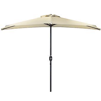 Charles Bentley 2.7 m beige metalen tuin half balkon parasol met crank functie