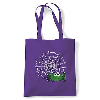 Spider Web Tote | Halloween Fancy Dress Costume Trick Or Treat | Reusable Shopping Cotton Canvas Long Handled Natural Shopper Eco-Friendly Fashion