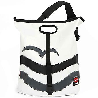 360deg offerte strand meeuw en wave zwart/grijs canvas tas.