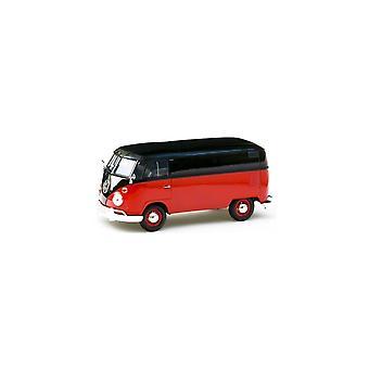 MotorMax  Motormax Volkswagen VW Type 2 (T1) Split Screen Red & Black 1:24