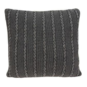 Casual Sweater Knit Gray Stripe Accent Pillow Cover