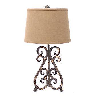 "13 ""x 11"" x 23.75 ""brons, vintage metaal, kaki linnen Shade-tafel lamp"