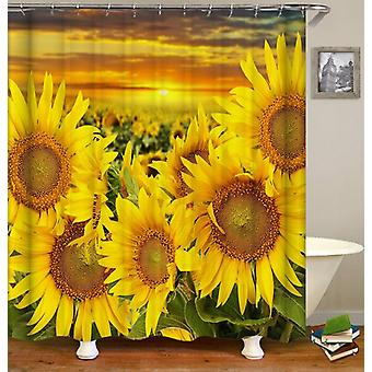 Sunset Over The Sunflower Field Shower Curtain