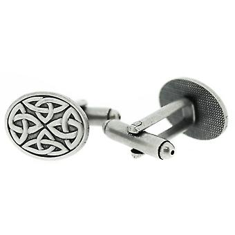 Pewter Celtic Holy Trinity Knots Square Oval Pair Of Cufflinks