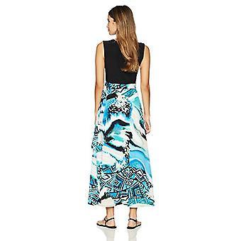 Star Vixen Women's Petite V-Neck 2-Tone Sleeveless Faux Wrap Maxi Dress, Blue...