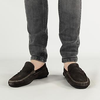 Catesby Shoemakers Joseph Mens Suede Leather Casual Driving Loafers Brown